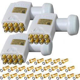 3x LNB Octo vergoldet 0,1dB High 3D 4K Full HD Wetterschutz LNB 24x F-Stecker HQ