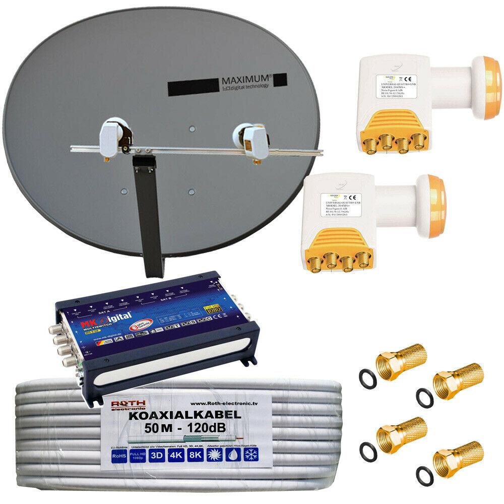 Multfeedhalter 2 DiSEgC RUSSISCHE TV! SAT Komplett  Anlage 4 LNB Twin